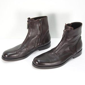 GIORGIO ARMANI BROWN LEATHER SIDE ZIP ANKLE BOOTS MEN'S EUR 42.5 USA 9.5